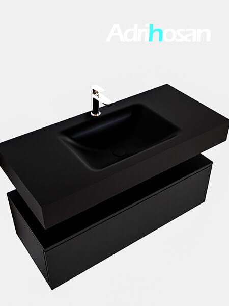 Badmeubel met solid surface wastafel model Google ALAN zwart kast mat zwart0005 1