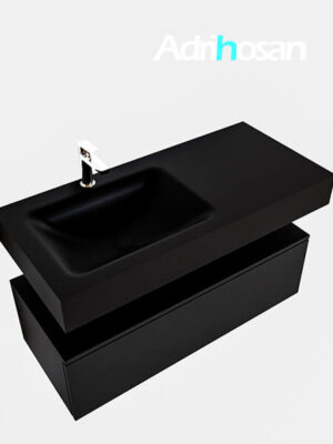 Badmeubel met solid surface wastafel model Google ALAN zwart kast mat zwart0006 1