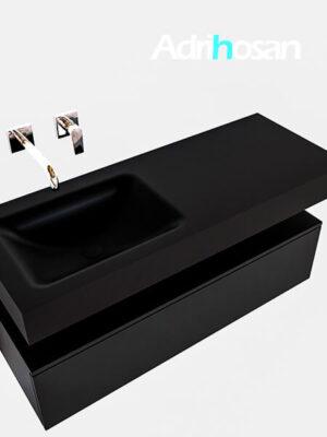 Badmeubel met solid surface wastafel model Google ALAN zwart kast mat zwart0009 1