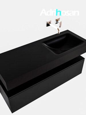 Badmeubel met solid surface wastafel model Google ALAN zwart kast mat zwart0010 1