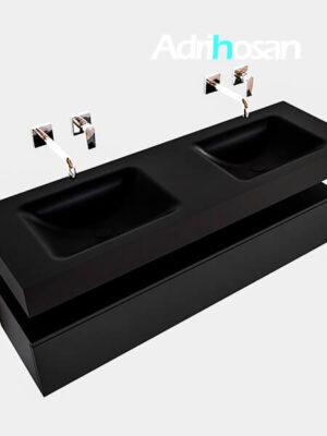 Badmeubel met solid surface wastafel model Google ALAN zwart kast mat zwart0019 1