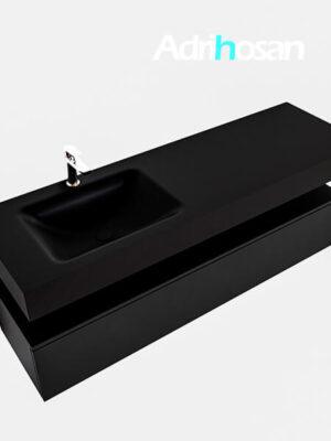 Badmeubel met solid surface wastafel model Google ALAN zwart kast mat zwart0021 1
