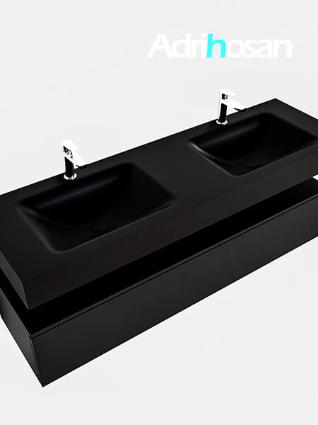 Badmeubel met solid surface wastafel model Google ALAN zwart kast mat zwart0023 1