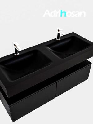 Badmeubel met solid surface wastafel model Google ALAN zwart kast mat zwart0031 1
