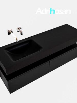 Badmeubel met solid surface wastafel model Google ALAN zwart kast mat zwart0033 1