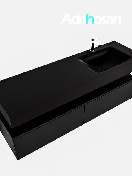 Badmeubel met solid surface wastafel model Google ALAN zwart kast mat zwart0038 1