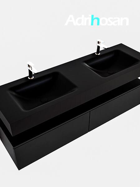 Badmeubel met solid surface wastafel model Google ALAN zwart kast mat zwart0039 1
