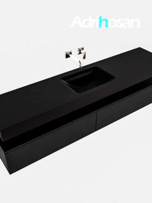 Badmeubel met solid surface wastafel model Google ALAN zwart kast mat zwart0040 1