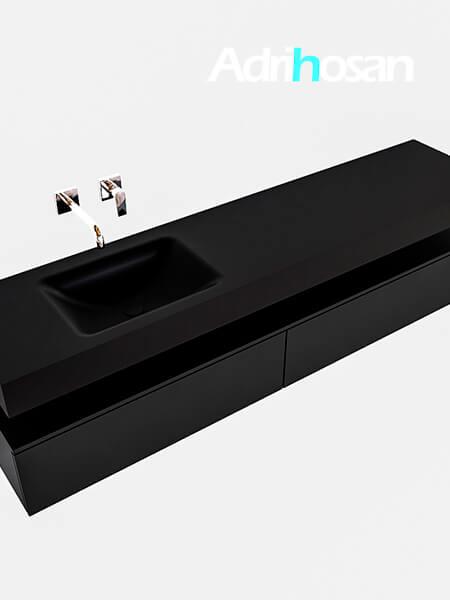 Badmeubel met solid surface wastafel model Google ALAN zwart kast mat zwart0041 1