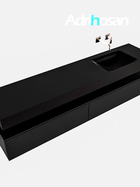 Badmeubel met solid surface wastafel model Google ALAN zwart kast mat zwart0042 1