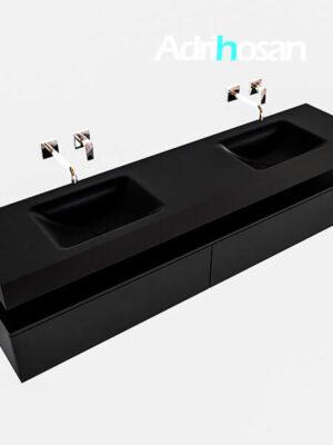 Badmeubel met solid surface wastafel model Google ALAN zwart kast mat zwart0043 1