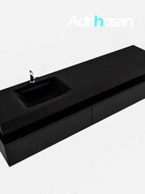 Badmeubel met solid surface wastafel model Google ALAN zwart kast mat zwart0045 1