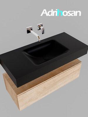 Badmeubel met solid surface wastafel model Google ALAN zwart kast washed oak0002 1