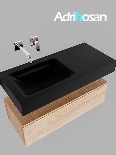 Badmeubel met solid surface wastafel model Google ALAN zwart kast washed oak0003 1