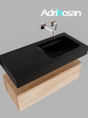 Badmeubel met solid surface wastafel model Google ALAN zwart kast washed oak0004 1