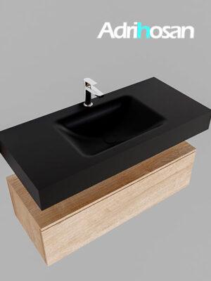 Badmeubel met solid surface wastafel model Google ALAN zwart kast washed oak0005 1