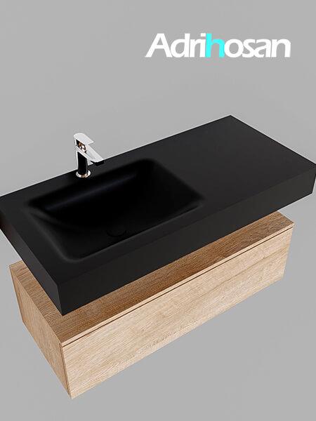 Badmeubel met solid surface wastafel model Google ALAN zwart kast washed oak0006 1