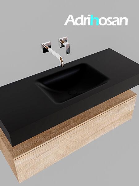 Badmeubel met solid surface wastafel model Google ALAN zwart kast washed oak0008 1