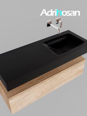 Badmeubel met solid surface wastafel model Google ALAN zwart kast washed oak0010 1