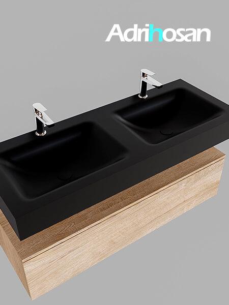 Badmeubel met solid surface wastafel model Google ALAN zwart kast washed oak0015 1