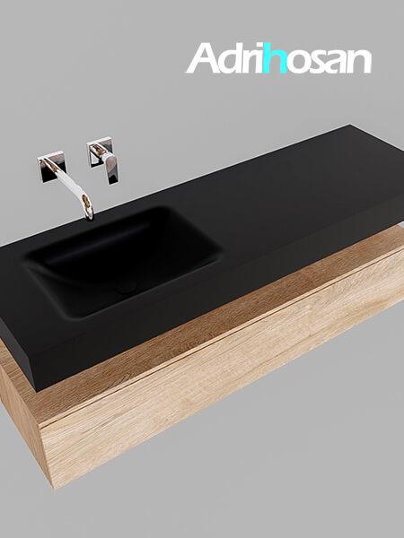 Badmeubel met solid surface wastafel model Google ALAN zwart kast washed oak0017 1