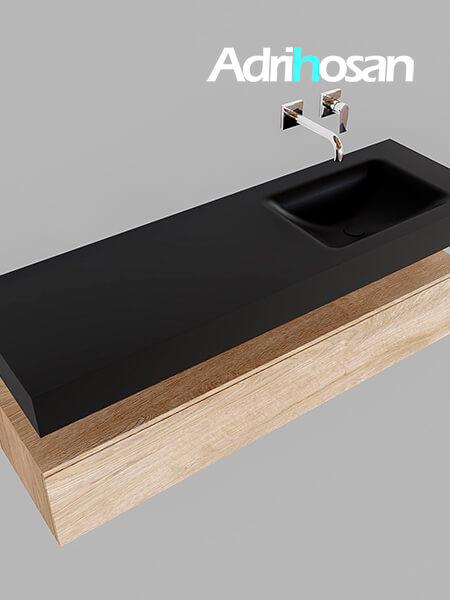 Badmeubel met solid surface wastafel model Google ALAN zwart kast washed oak0018 1
