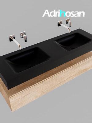 Badmeubel met solid surface wastafel model Google ALAN zwart kast washed oak0019 1