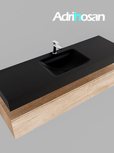 Badmeubel met solid surface wastafel model Google ALAN zwart kast washed oak0020 1