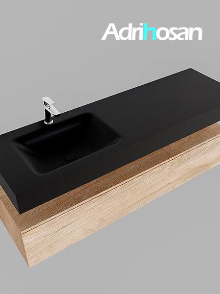 Badmeubel met solid surface wastafel model Google ALAN zwart kast washed oak0021 1