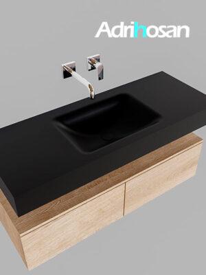 Badmeubel met solid surface wastafel model Google ALAN zwart kast washed oak0024 1