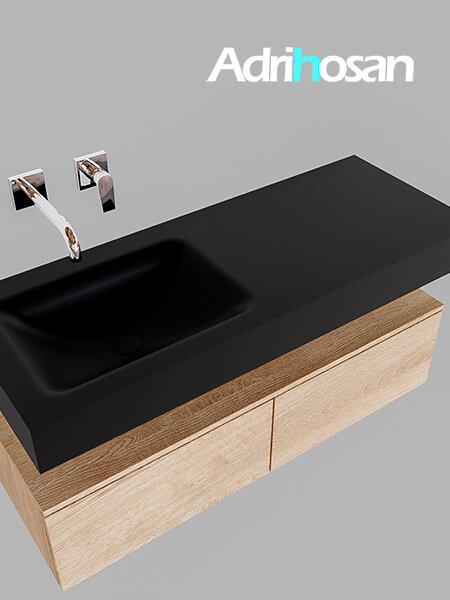 Badmeubel met solid surface wastafel model Google ALAN zwart kast washed oak0025 1
