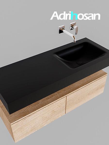 Badmeubel met solid surface wastafel model Google ALAN zwart kast washed oak0026 1