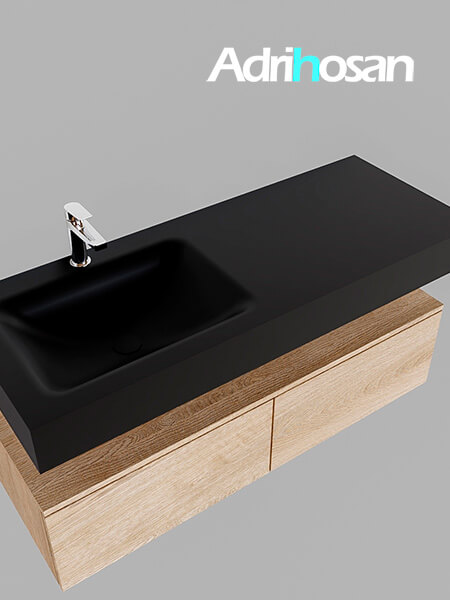 Badmeubel met solid surface wastafel model Google ALAN zwart kast washed oak0029 1