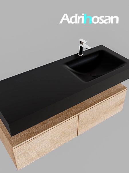 Badmeubel met solid surface wastafel model Google ALAN zwart kast washed oak0030 1
