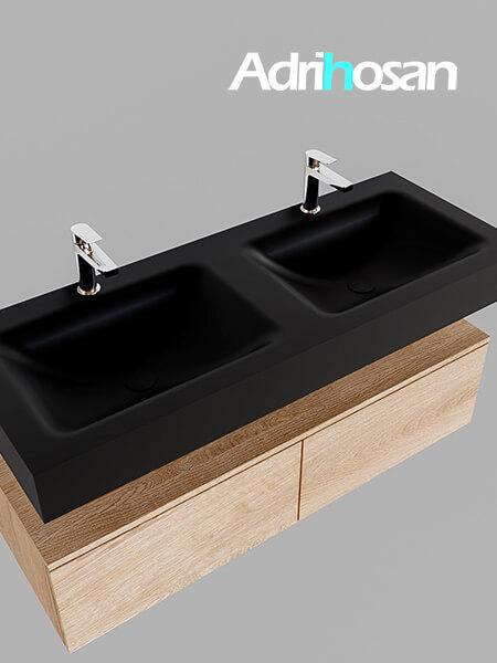 Badmeubel met solid surface wastafel model Google ALAN zwart kast washed oak0031 1
