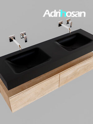 Badmeubel met solid surface wastafel model Google ALAN zwart kast washed oak0035 1
