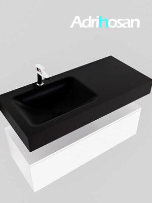 Badmeubel met solid surface wastafel model Google ALAN zwart kast wit0006 1