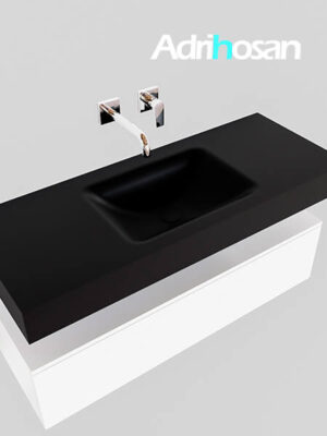 Badmeubel met solid surface wastafel model Google ALAN zwart kast wit0008 1