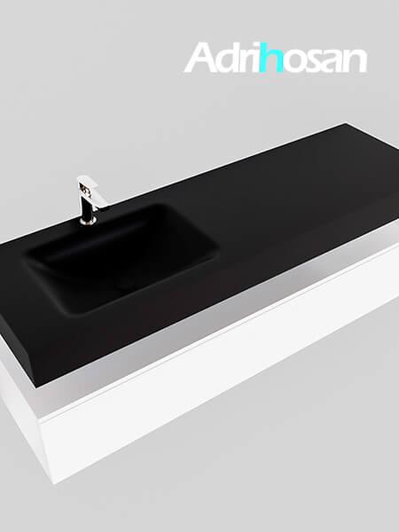 Badmeubel met solid surface wastafel model Google ALAN zwart kast wit0021 1