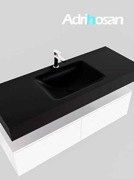 Badmeubel met solid surface wastafel model Google ALAN zwart kast wit0028 1