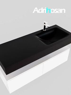 Badmeubel met solid surface wastafel model Google ALAN zwart kast wit0030 1