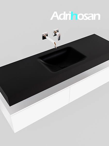 Badmeubel met solid surface wastafel model Google ALAN zwart kast wit0032 1