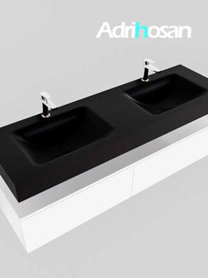 Badmeubel met solid surface wastafel model Google ALAN zwart kast wit0039 1