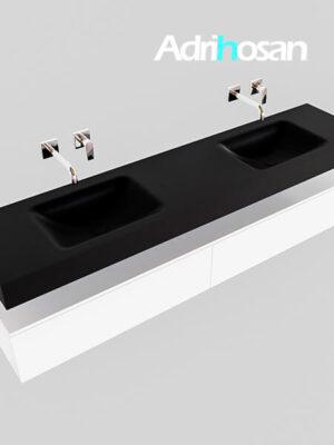 Badmeubel met solid surface wastafel model Google ALAN zwart kast wit0043 1