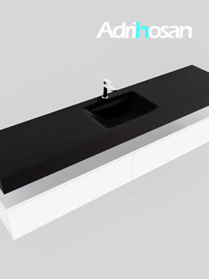 Badmeubel met solid surface wastafel model Google ALAN zwart kast wit0044 1