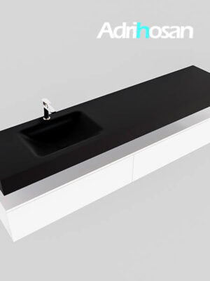 Badmeubel met solid surface wastafel model Google ALAN zwart kast wit0045 1