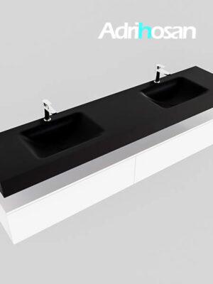 Badmeubel met solid surface wastafel model Google ALAN zwart kast wit0047 1