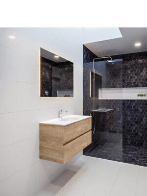 Mueble de baño suspendido Vica 80 2 cajones en acabado Wood roble natural.Mueble de baño de apertura suave.