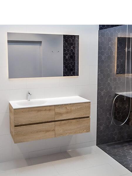 Mueble de baño suspendido Vica 150 roble 4 cajones