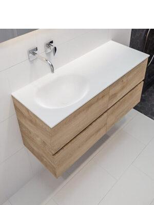 Mueble de baño suspendido Vica 150 roble 4 cajones con orificios. Un mueble de baño de apertura suave, encimera para grifo sobre encimera y seno doble